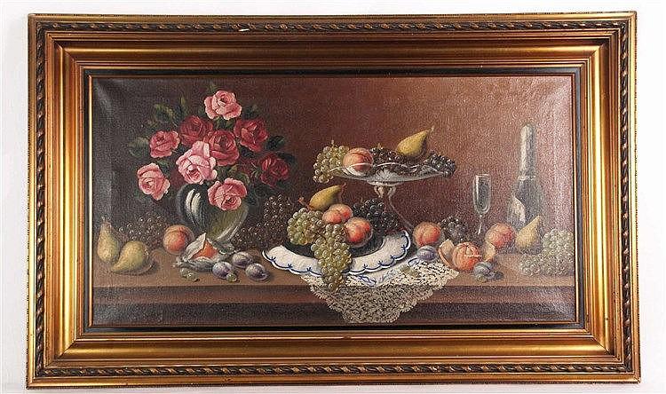 Unbekannt - Stilleben mit Rosen und Obst, unten links signiert, ca.48x91cm, Öl auf Leinwand, Holzrahmen ca.72x115cm