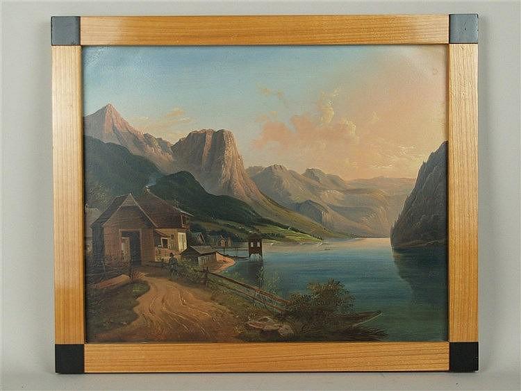 Unbekannt - Seeklause am Grundlsee im Salzkammergut,im Hintergrund Totes Gebirge mit Backenstein,feine Ölmalerei auf rechteckiger Kupferplatte, um 1830,ca.31x38cm,spätere Kirschholz-Rahmenleiste