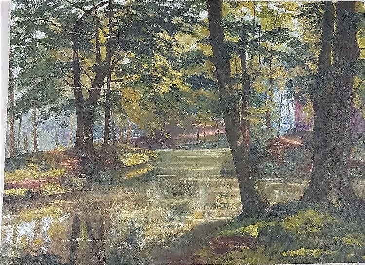 Unbekannt - Bewaldete Parklandschaft mit Wasserlauf im Sonnenlicht,Öl auf Leinwand,rückseitig beschriftet ''....bad'' und datiert ''1906'',ca.27,5x38cm,Leinwand liegt lose