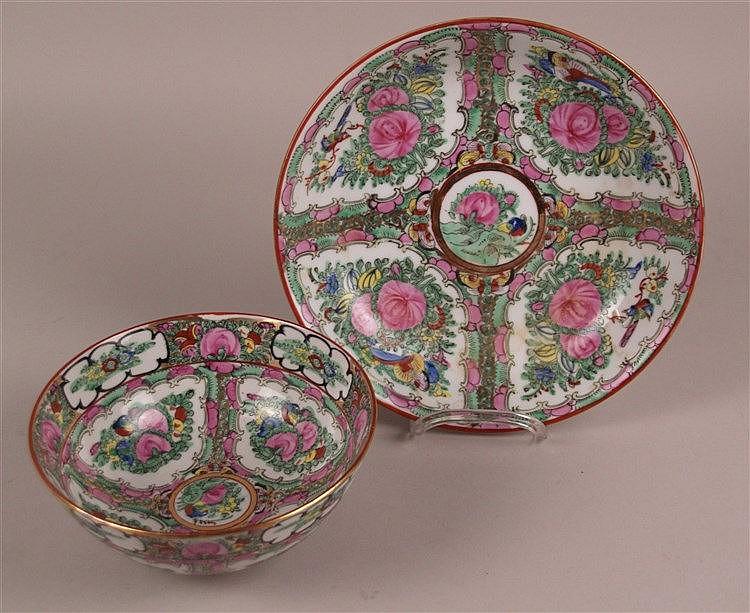 Zwei Schalen - China,polychrome bemalung in Emailfarben,''Rose Canton''-Dekor ,1x H.ca.7,5cm D.ca.18cm, 1x H.ca.4,4cm, D.ca.23,5cm, Gebrauchsspuren