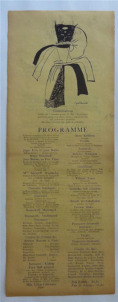 Einladungsschreiben zum Kostümball der russischen Emigranten in Paris - Original-Programm Bal Olympique 11.Juli 1924 organisiert von der ''l'Union des Artistes Russes à Paris'' (''Bal Olympique. Vrai Bal sportif costumé organisé par l'Union des
