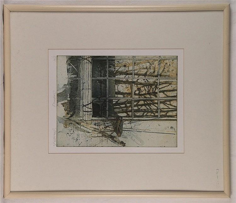 Schreiber, Michael - ''Glashaus II'',1986, Farbradierung, num.8/75, handsigniert, unter Glas gerahmt, ca.70x60cm