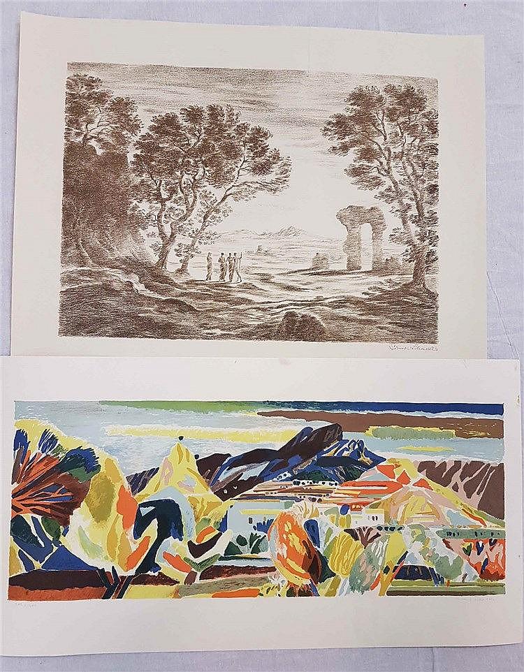 Konvolut ''Landschaft mit Figurenstaffage'' - 2-tlg, Lithographie/Papier,ca.37,5 x 51,5 cm. R.u.sign.: Simon Schäfer. R.o. Knick, l.u. kl. Riss. Ungerahmt. ''Landschaft''. Farblithographie/ Papier. ca.25,5 x 65,5 cm., R.u. sign. L.u. num.: 202/300.