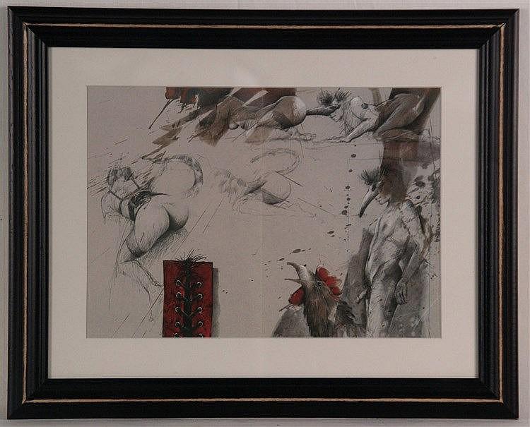 Klös,Bodo - ''Veronika und Hahn'',Farboffset, ca.22 x 31,5 cm, unter Glas gerahmt