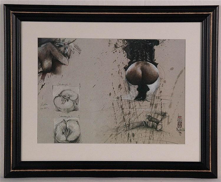 Klös, Bodo - ''Schneckenapfel-Torso IV'', Farboffset,ca.22 x 31,5 cm, unter Glas gerahmt