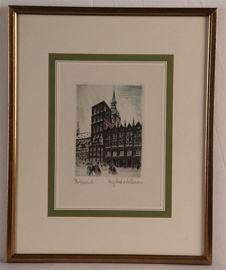 Pallmann, Kurt (1886 Berlin 1952) - ''Stralsund'',Originalradierung, handkoloriert,signiert,im PP unter Glas gerahmt, PP-Ausschnitt ca.17,5x13cm