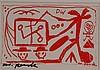 Penck, A.R. - ''Die Erben'', datiert 1986, Multiple, handsigniert, ca.10 x 14,5cm, in PP. unter Glas gerahmt
