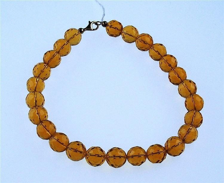 Halskette - orange-braune Citrine,facettierte Kugeln Dm.ca.16mm,Verschluss Silber 925,vergoldet, L.ca.44 cm