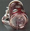 Glashumpen - 19.Jh.,z.T. rot lasiert, mit Kerben- und Linsen-Schliff,Goldstaffage berieben,lt.Kratzer,Zinnmontierung,H.ca. 16cm