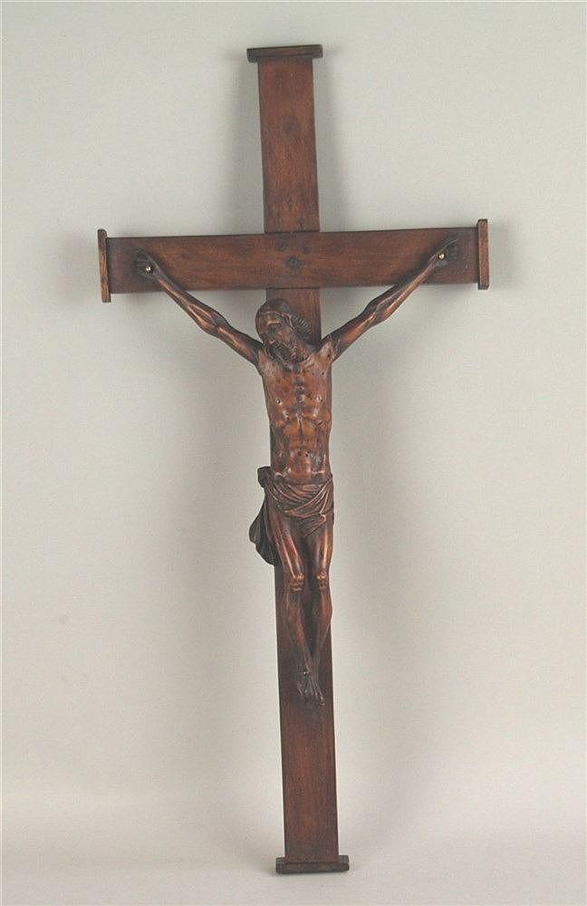 Holz-Kruzifix - Korpus Christi aus Buchsbaum,ca.1820, Arm restauriert, ca.45x21cm