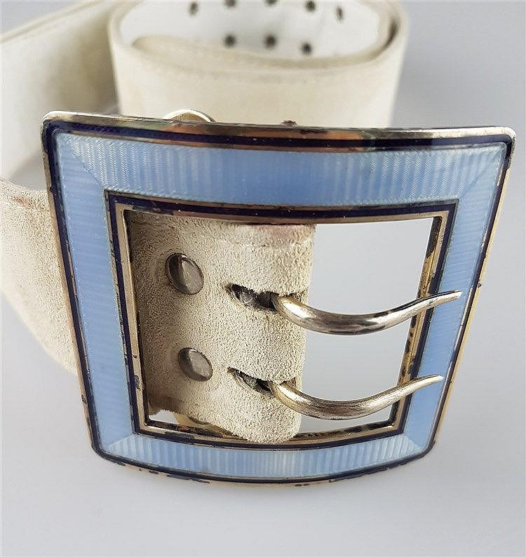 Gürtelschnalle - Gürtenschnalle im Jugendstil mit hellbeigem Gürtel aus Wildleder,hellblaues und lilafarbenes Emaille auf Silber,Gürtenschnalle ca.6,5x7,5cm, Gürtel L.ca.95cm