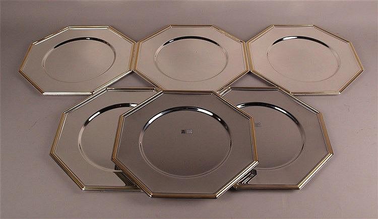 6 Platzteller - WMF,achteckig,mit Zertifikat, versilbert,Goldrand, D.ca.30,5cm