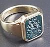 Siegelring mit Heliotrop - Gelbgold gestempelt 585,Ringkopf mit Heliotrop-Platte und Wappenintaglio,Dm.ca.21mm,Gew.ca.15g