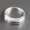 Platinring - Platin gestempelt Pt 950,Facettenringkopf ausgefasst mit 10 Diamanten (zus.ca.0.10ct.)und 10 Saphiren in Brillant- bzw. Carréschliff,Dm.ca.18mm