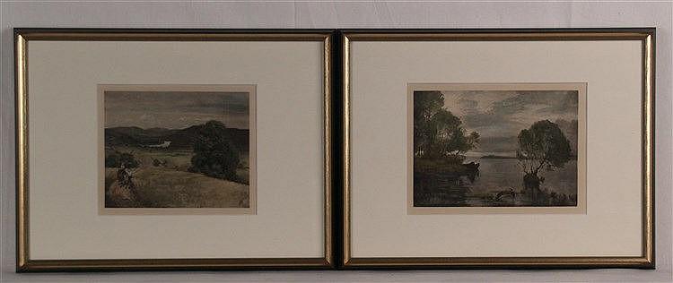 Thoma,Hans (1839-1924) - Paar Landschaften, Farblithografien,i.d. Platte monogrammiert,1x datiert 1877, PP-Ausschnitt ca.17,5x21 cm und 17,5x24 cm, im PP unter Glas gerahmt