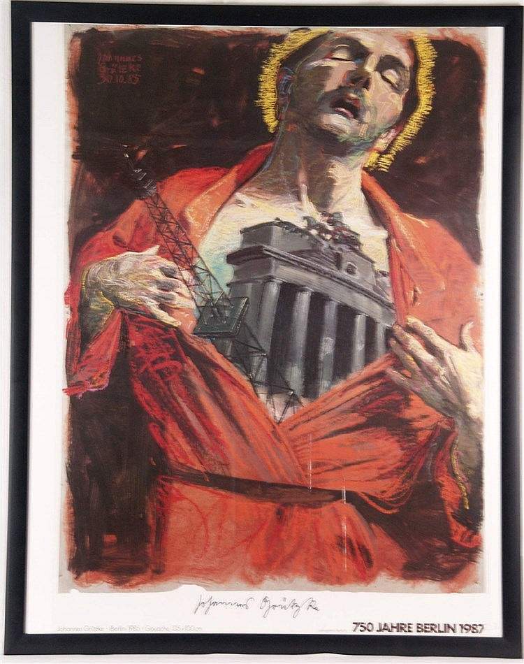 Grützke, Johannes - Plakat  ''750 Jahre Berlin'',1987, Offsetprint, handsigniert, unter Glas gerahmt, ca.123 x 100 cm