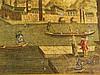 Serviertablett - Metall,mit Stadtansicht bez.''Vue de la Ville de Mantralle dans le Royaume de Maroch'',krakeliert, ca.34x49x4cm, 2 Henkel, starke Gebrauchsspuren
