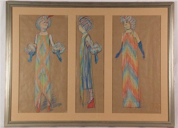 Grützke, Johannes (*1937 Berlin - in Berlin tätig)- ''Drei Kostümbilder'', Pastellkreide, datiert Dez. 1987, handsigniert, Entwurf für Peter Zadek(Deutsches Schauspielhaus Hamburg), unter Glas gerahmt ca.87 x 118 cm