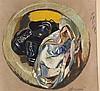 Grützke, Johannes (*1937 Berlin,ansässig und tätig in Berlin) - Turnschuhe und Kleidungsstücke in der Waschmaschinenöffnung, Pastellkreide/Mischtechnik auf Malkarton, datiert ''26.1.1995'' und handsigniert, Entwurf zum Relief (Emaille auf