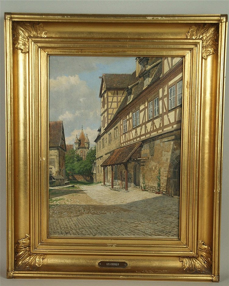 Hansen,Josef Theodor(1848-1912) - Ansicht von Rothenburg o.T. mit Blick zum Stöberleinturm,Öl auf Leinwand, unten rechts in Blockbuchstaben signiert ''J.T.HANSEN'',verortet ''ROTHENBURG O.T.'',datiert 1910 und links in dänischer Sprache betitelt