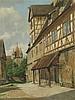 Hansen,Josef Theodor(1848-1912) - Ansicht von Rothenburg o.T. mit Blick zum Stöberleinturm,Öl auf Leinwand, unten rechts in Blockbuchstaben signiert ''J.T.HANSEN'',verortet ''ROTHENBURG O.T.'',datiert 1910 und links in dänischer Sprache betitelt