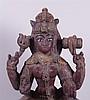 Göttin Parvati - die Personifikation des Himalaya und Gemahlin Shivas,Indien 18.Jh.,Holz,Lack- und Farbfassung mit Abrieb,4-armige Darstellung der Göttin mit Lotosblüte und anderen Attributen in den Händen,im Spielsitz auf einem gegliederten