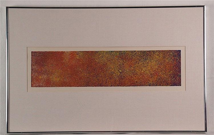 Bhasvar, Natvar (*1934 Gothaya/Indien) - Ohne Titel I, signiert, datiert 1974, num.22/39, Serigraphie auf Papier, ca.58,4x91,4cm, in PP unter Glas gerahmt.