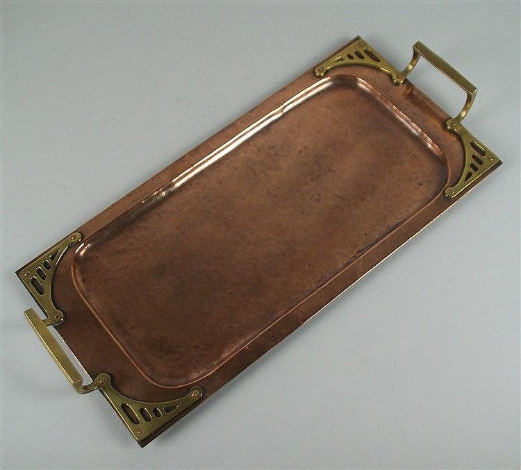 Servierplatte - Jugendstil, Kupfer-Messing getrieben, ca.41x20cm