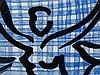 Szczesny, Stefan - Wandteller, abstrahierter Frauenakt in tanzender Bewegung auf blauem Gittermuster und zwei große Blüten, beziffert 48/200, D ca.28 cm