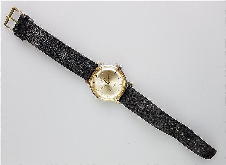 Herrenarmbanduhr- ANKER, Gehäuse Edelstahl vergoldet, 21 jewels, antimagnetic, schwarzes Lederarmband, Durchmesser ca. 33 mm, funktionsfähig, Gebrauchsspuren