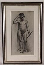 Nebb,J.- Knabenakt, 19.Jh. signiert und datiert ''24.X.89'', Kohlezeichnung auf Karton, ca.39x25cm, unter Glas gerahmt