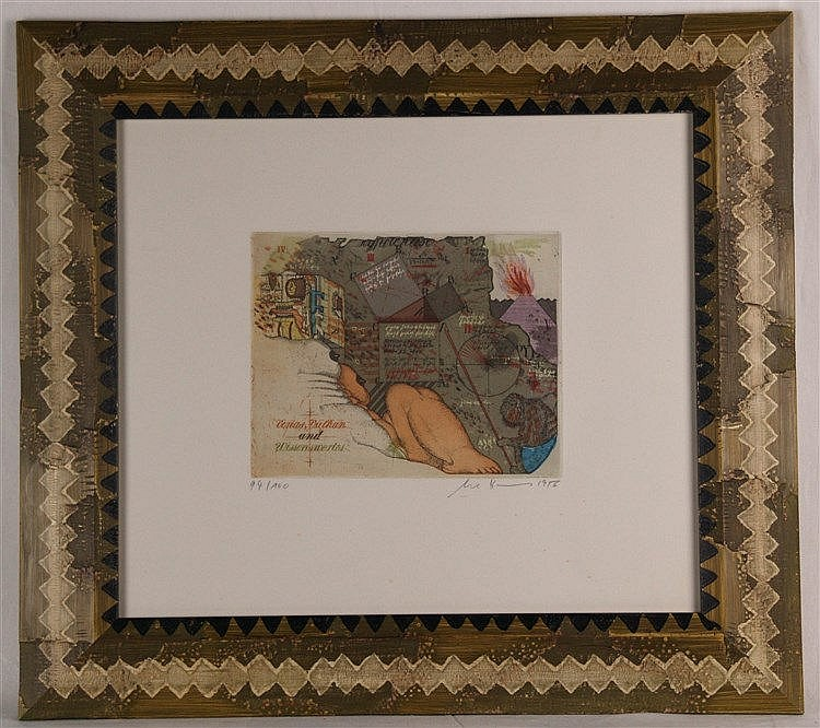 Bremer, Uwe (*1940) - ''Venus,Vulkan und Wissenswertes'', Blatt 94/100, signiert und datiert,ca.18 x 22,5cm,unter Glas gerahmt