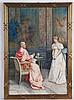 Marchesi,G. - Audienz beim Kardinal/Belehrung einer jungen Dame, Aquarell auf Papier,links unten signiert,partiell Stockflecken,unter Glas gerahmt,Originalrahmen,ca.54 x 37,5 cm