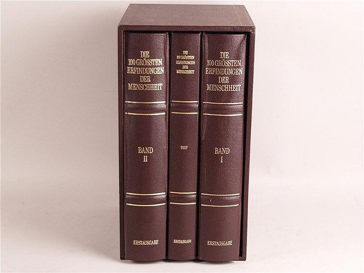 100 Medaillen ''Die 100 größten Erfindungen der Menschheit'' 925er Sterlingsilber, vergoldet (24 Karat) Erstausgabe, Franklin Mint Gesamtgewicht der Medaillen: ca.2.100g in 3 Bänden (Band 3 ist der Textband), im Schuber, 2 Medaillen befinden sich