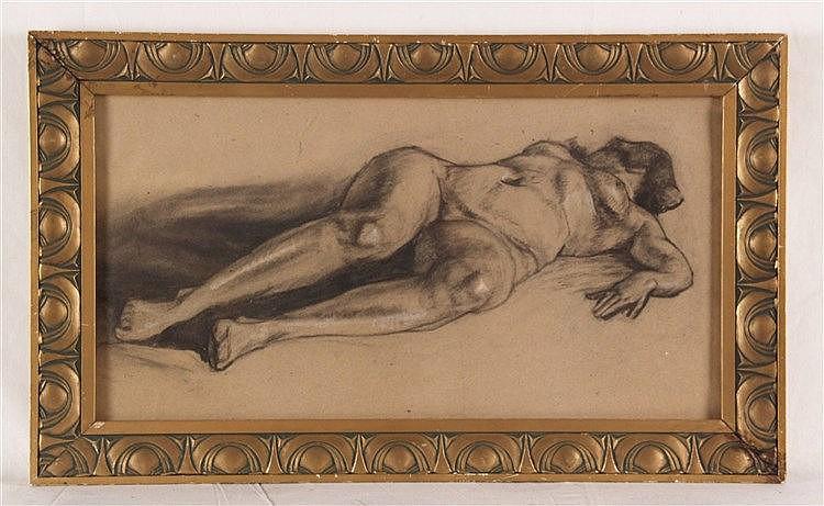Anonym - Frauenakt, Jugendstil, Kohlezeichnung auf Karton, gehöht, ca.24x45,5cm, im Jugendstilrahmen