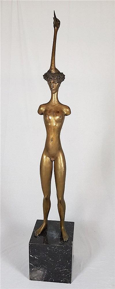 Vojnov, Dimitri (*1946 Ressen/Bulgarien, seit 1986 in Frankfurt a.M. ansässig und tätig) - ''Die Königin der Vögel'', Bronze 1993, Auflage 3 Stück, Unikat in Lebensgröße, auch als Wasserskulptur aufstellbar, das Wasser läuft durch die