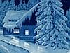 Wandteller - Meissen,Spiegelmotiv: Hütte in verschneiter Tannenwaldlandschaft in Blau und Weiß, Goldrand,D.ca.29,5 cm