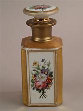 Porzellanflakon - 19.Jh., handgemalt, polychromes Blumenmuster,Goldstaffage berieben,H.ca.16,5cm