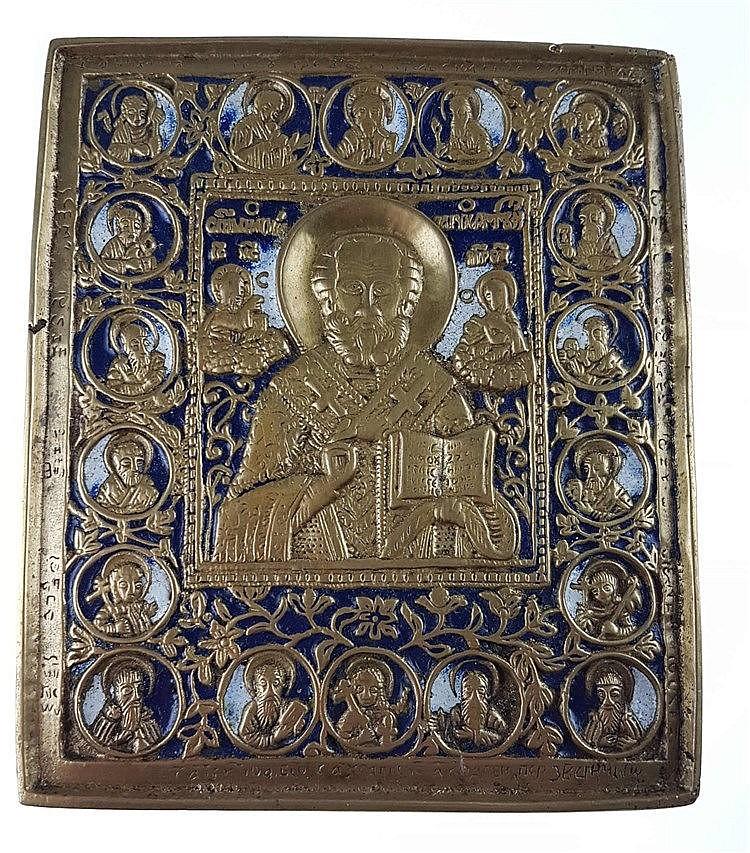 Reiseikone - Russland, 19.Jh., Bronze, Bildfeld mit reliefierter Darstellung des Hl. Nikolaus umgegeben von 19 Heiligen,blau-weiß emailliert, ca. 14 x 12 cm