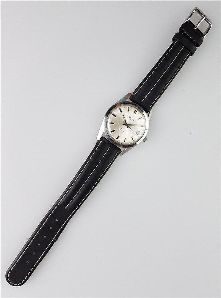 Herrenarmbanduhr - NIVADA, Automatic, Gehäuse Edelstahl, schwarzes Lederarmband, Swiss made, Durchmesser ca. 34 mm, lief bei Katalogisierung