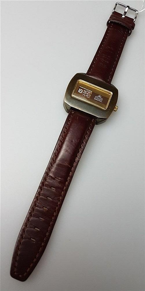 Herrenarmbanduhr - Arctos, Automatik mit digitaler Anzeige, bronziertes Gehäuse, 1970er,B.ca.4cm,Lederband,funktionsfähig