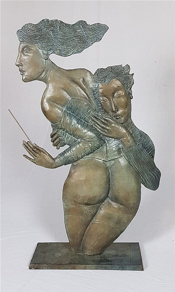 Ceytaire,Jean-Pierre (*1946 in Paris) -''Monsieur joue d'un bel instrument,Madame donne le tempo'', Bronze, braun patiniert,1991,Nr.4/8, H.ca.117cm,Ausstellung ''Madame donne le tempo...'' Satyra Gallerie Kronberg Mai/Juni 1993