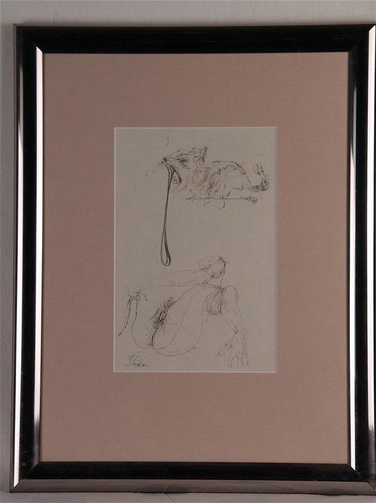 Karakas,András(1948-Budapest-2008) - Erotische Darstellung,Radierung,i.d. Platte signiert,ca.27x18cm,unter Glas gerahmt