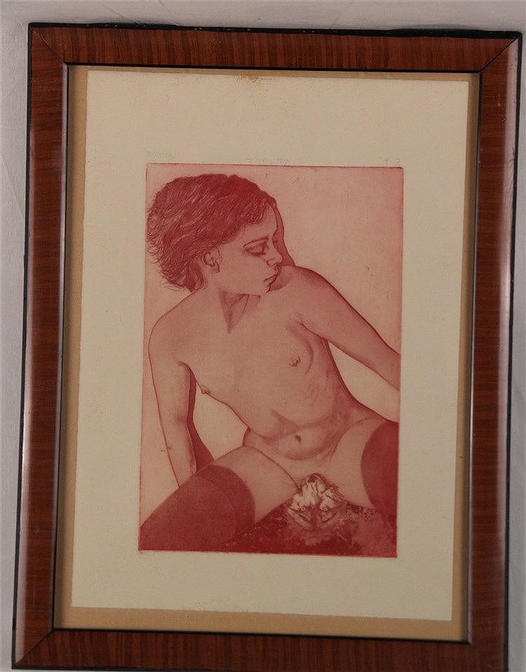 Karakas,András(1948-Budapest-2008) - ''Der Schlaf'',Radierung auf Bütten, in Blei signiert und bezeichnet ''E.A.'',Plattenmaß:ca.27x18cm,unter Glas gerahmt
