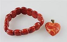 Armband und Anhänger - Blutstein, herzförmiger Anhänger, ca.3 cm, 333er Gold