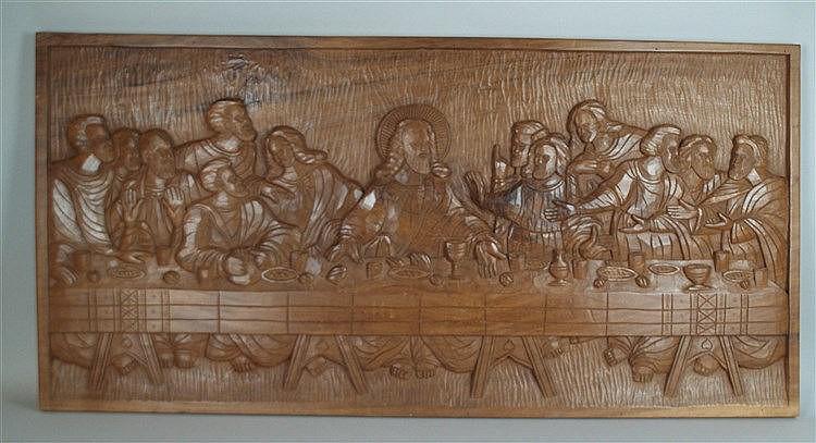 Reliefbild ''Das letzte Abendmahl'' - geschnitztes Holzrelief,ca.61,5x125cm