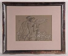 Ceytaire, Jean-Pierre (*1946 in Paris) -''La mère tient l'enfant,le père et l'enfant index jointes'', Bleistiftzeichnung weiß gehöht(Kreide) auf getöntem Papier,im Bild signiert und datiert 1990,verso bezeichnet und signiert,im PP unter Glas