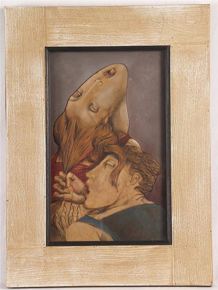 Ceytaire, Jean-Pierre (*1946 in Paris) -''Tirée Griffé'', Öl auf ausgesägtem Holz, 1990,verso von Künstlerhand bezeichnet und signiert,ca.48,5x30cm, unter Glas gerahmt