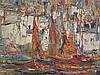 Unbekannt- Mediterraner Hafen im Sonnenlicht, Öl auf Leinwand,rechts unten unleserlich signiert,stark pastoser Farbauftrag/Spachteltechnik,ca.48x60cm,R ahmen
