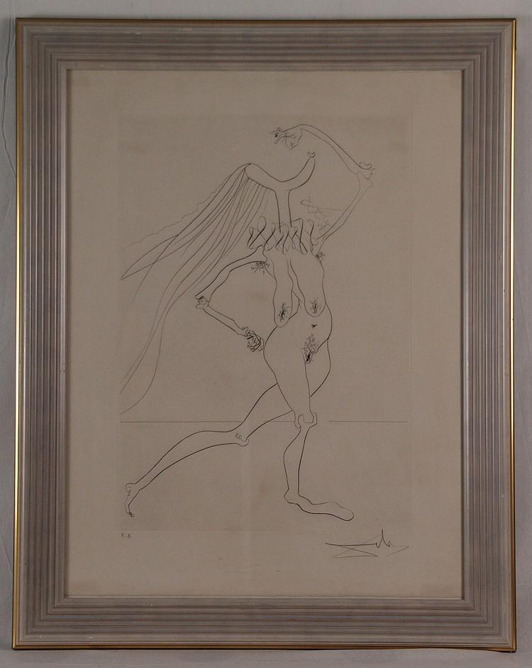 Dalí,Salvador (1904 -Figueres, Girona- 1989)- Quevedos Visionen, Kaltnadelradierung, 1975, handsigniert und bz. ''ea'', Plattenrand ca. 52x36,5 cm, unter Glas gerahmt(ein Blatt aus der Serie)